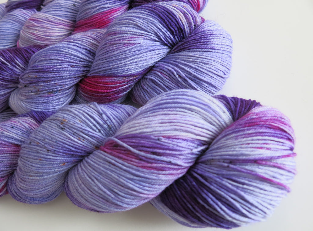 hand dyed purple and pink 100g sock yarn skeins for knitting