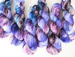 speckled blue and purple yarn for knitting socks and shawls
