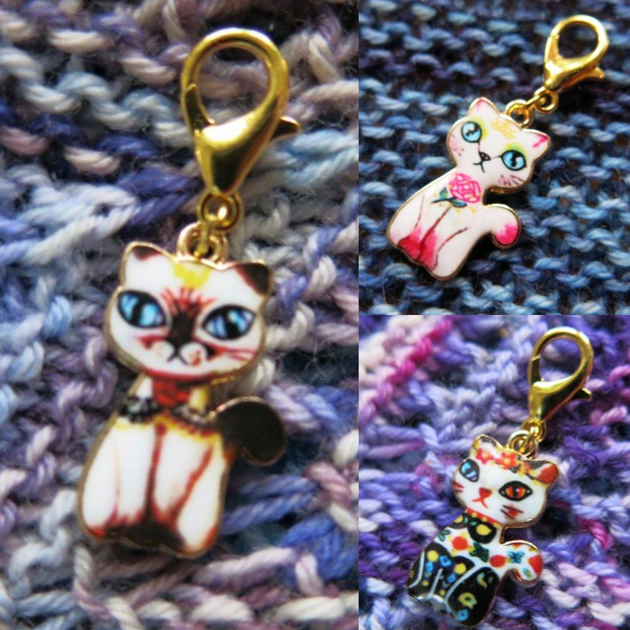 enalmel cats and flowers progress keepers stitch marker charms