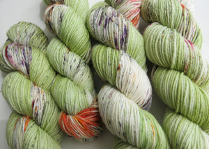 hand dyed moon salad dk green yarn skeins