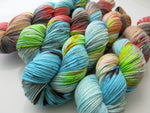 hand dyed slik and sparkle dk yarn skeins