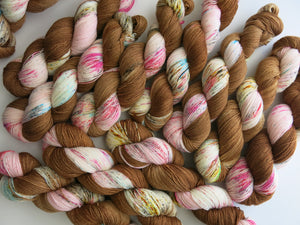 hand dyed superwash merino and nylon yarn skeins
