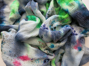 indie dyed sock blank in green and blue with neon pink