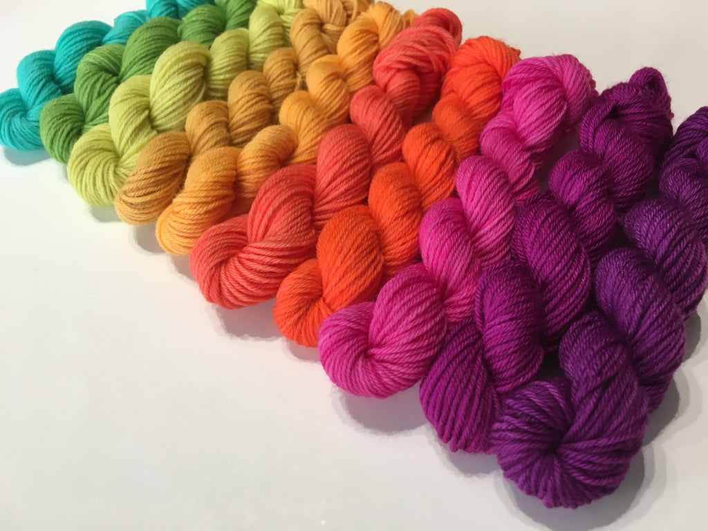 ten 10g sock weight miniskeins in solid rainbow colours