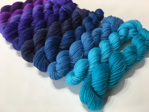 ten colour sock yarn mini skein set in semi solid blues and purples