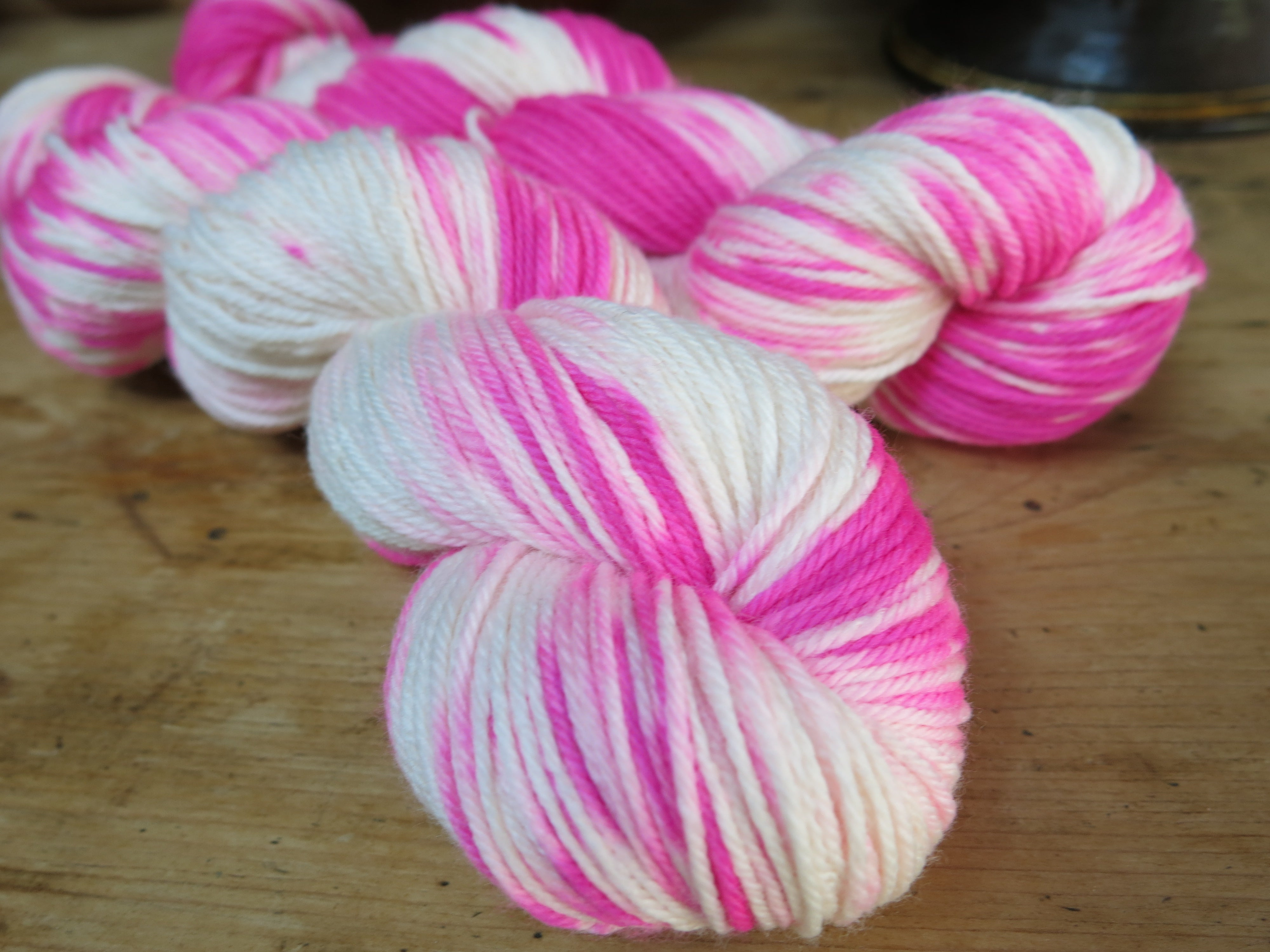 shocking hot pink dk yarn with nylon for sock knitting