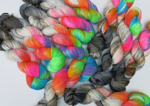 hand dyed rainbow yarn for black lights