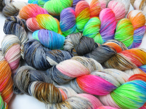 indie dyed sock yarn skeins inspired by fear and loathing