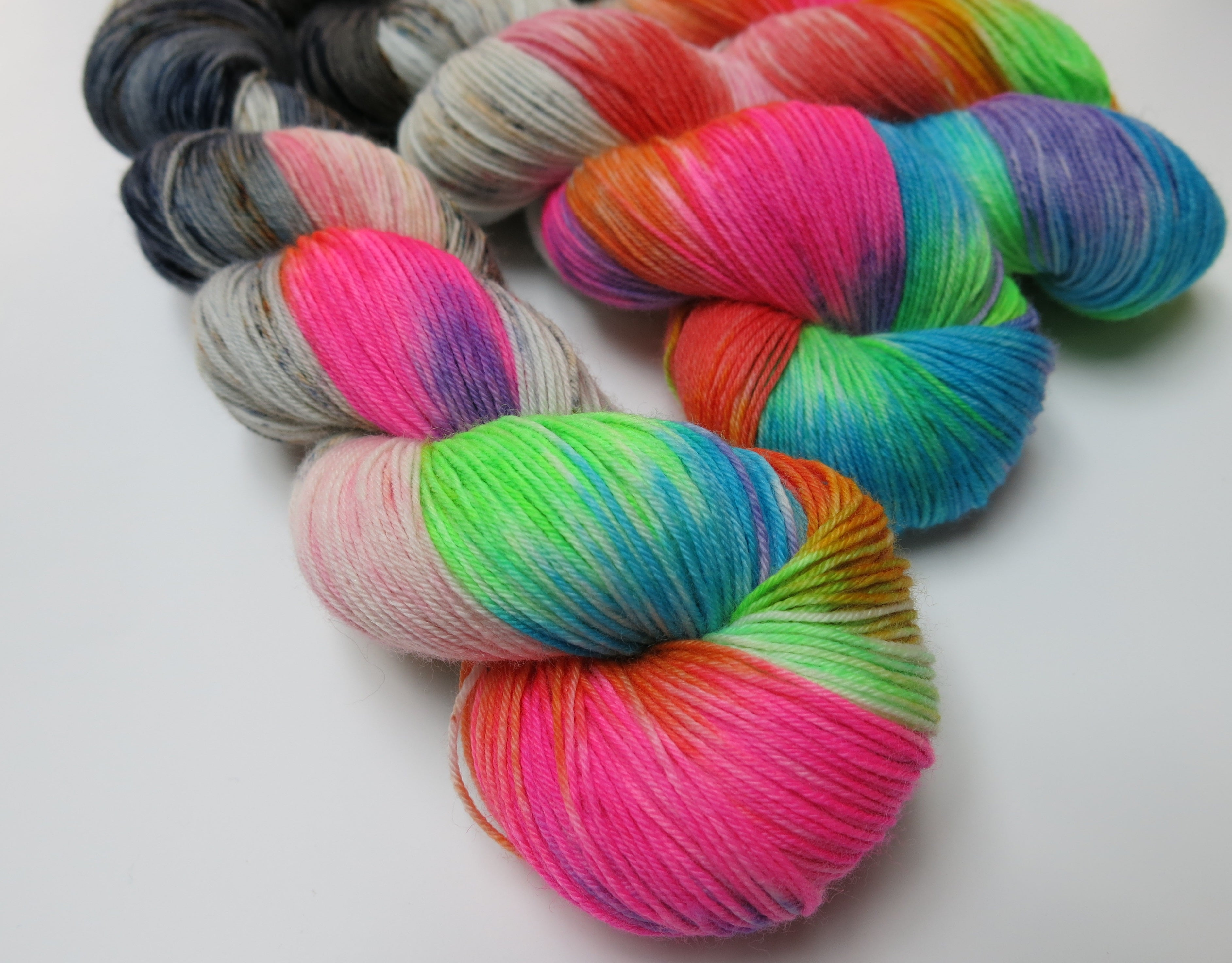 neon and grey superwash merino sock yarn for knitting and crochet