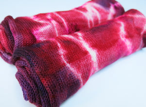 red single stranded sock blank dyed by my mama knits