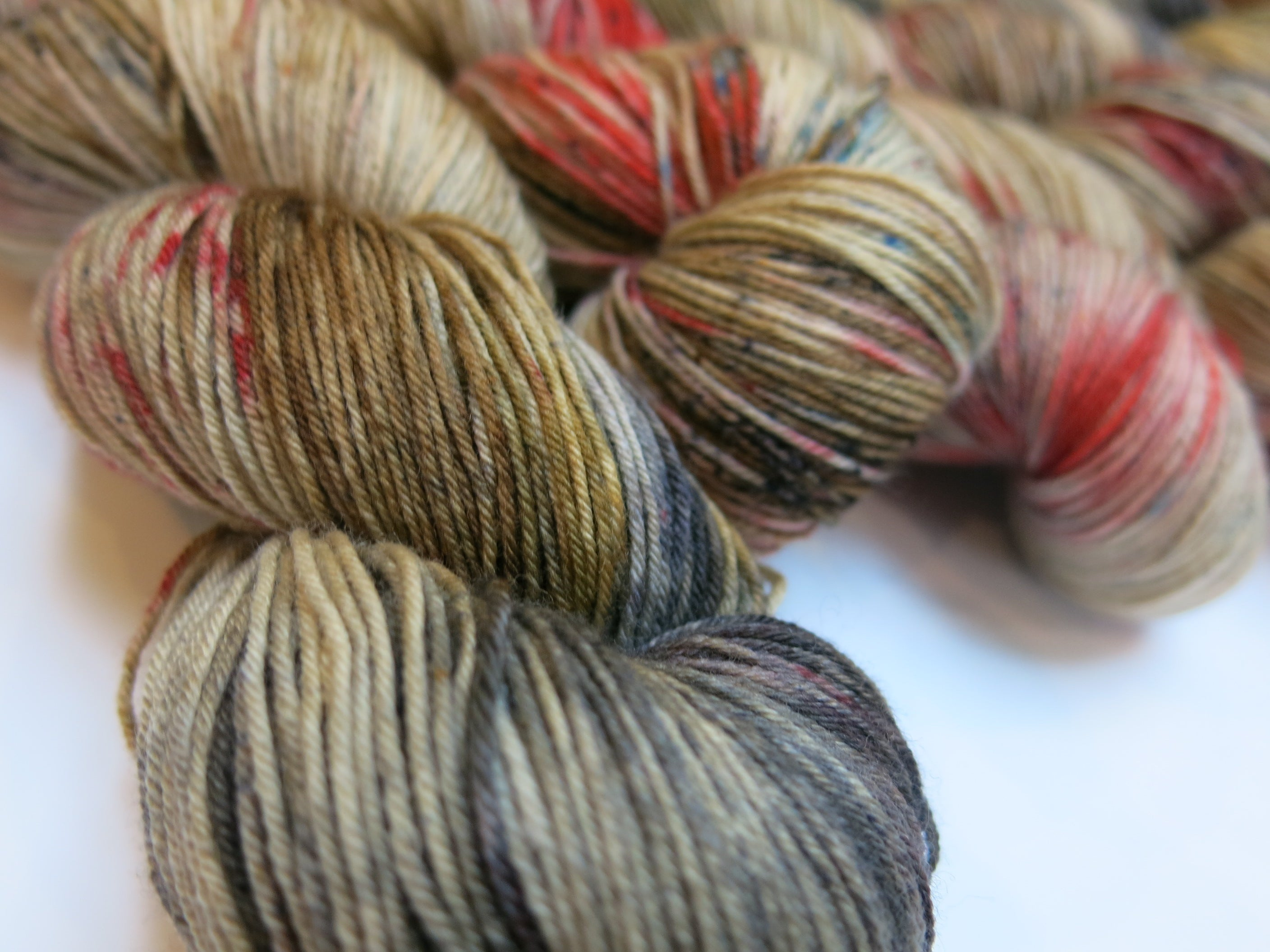 hand dyed christmas superwash merino sock yarn skeins