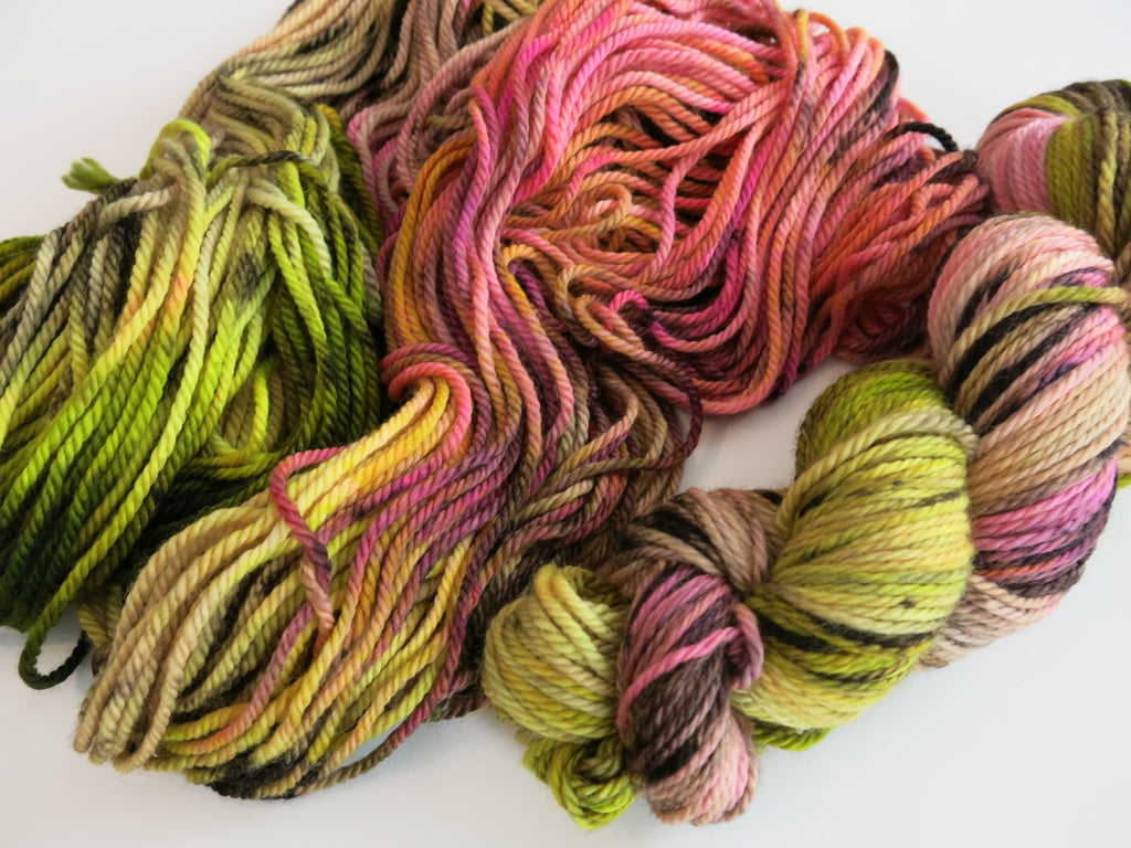 hand dyed uv reactive merino aran yarn skeins