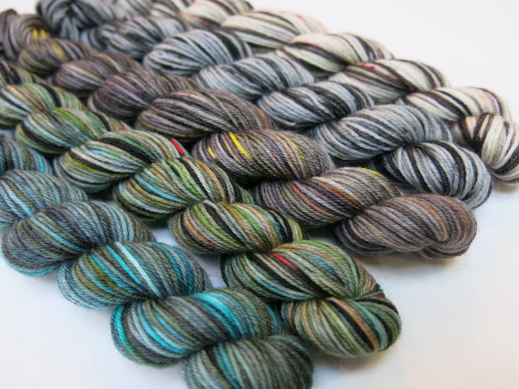 hand dyed mini skein set with a scottish theme