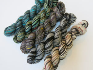 hand dyed mini skein set with greys and blues