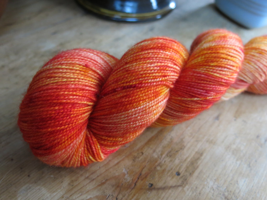 kettle dyed tonal orange british sock yarn skein