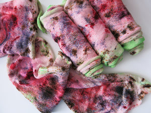 zombie themed hand dyed speckled sock blank