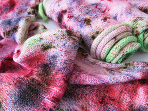 pink and green speckled superwsh merino sock blank