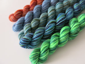 indie dyed uv reactive superwash sock yarn mini skein set