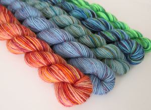 hand dyed sock yarn mini skeins in orange and blue