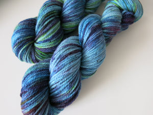 kettle dyed wool in blue purple and green for weaving