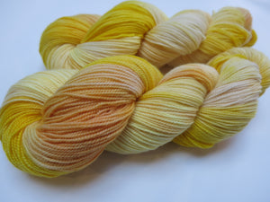indie dyed tonal yellow merino sock yarn