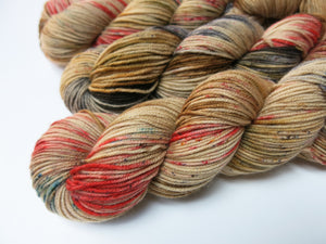 indie dyed rudolf christmas yarn in brown and red