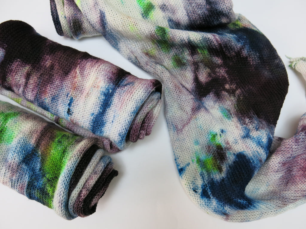 hand dyed single stranded sock blank with purple and green