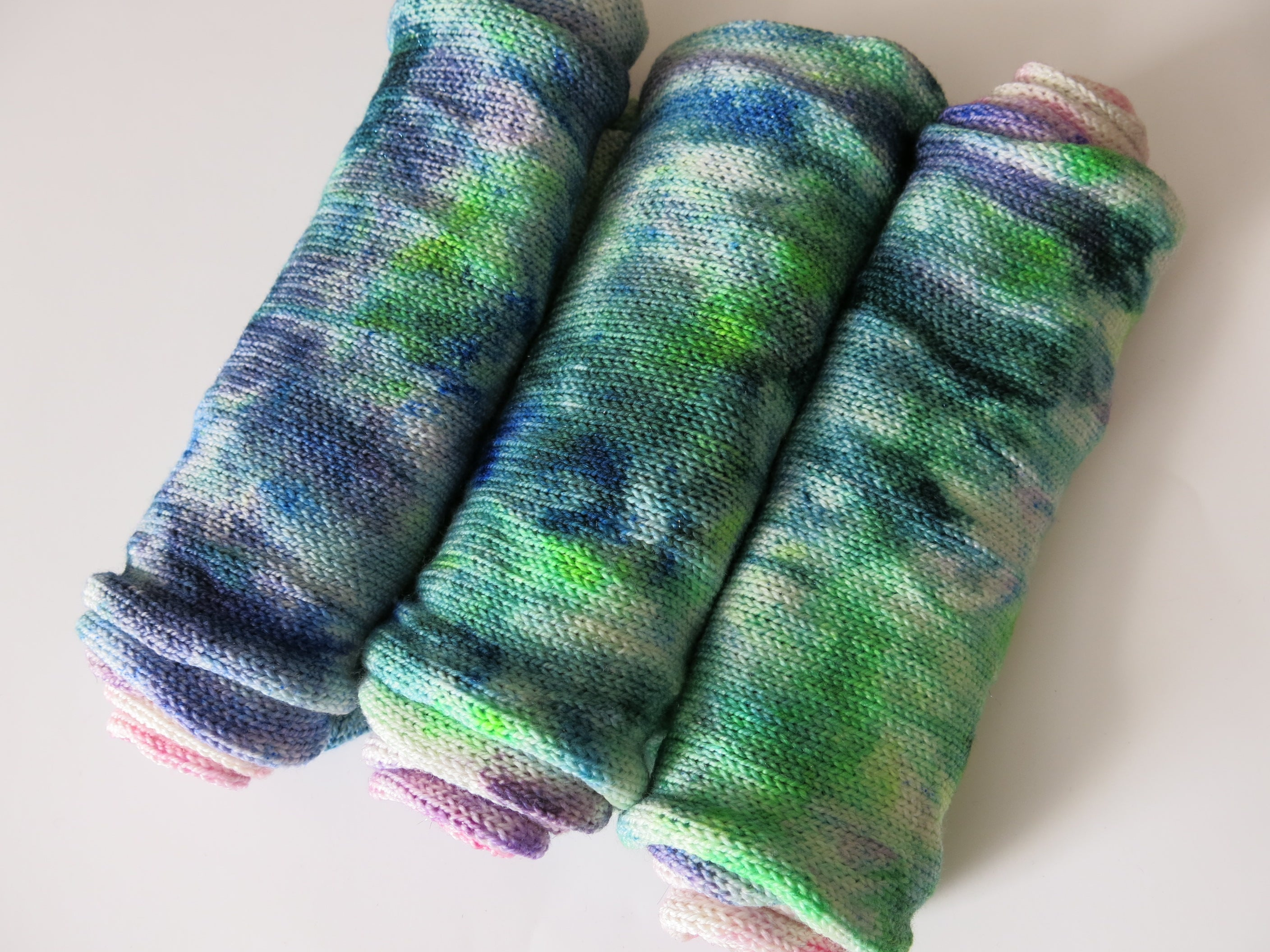 indie dyed green and pink speckled sock blank