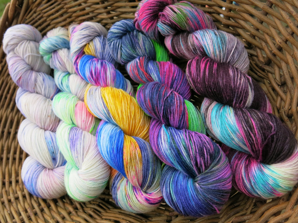 ooak five skein fade on superwash merino sock yarn