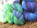 hand dyed sock yarn fade kit in blues and greens