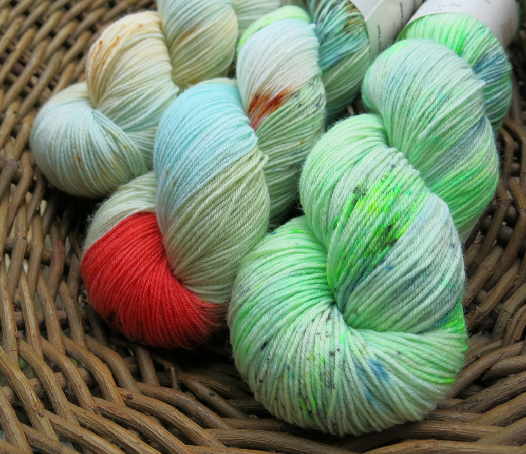 indie dyed three skein fade set on superwash merino sock yarn