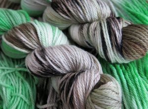 hand dyed superwash merino aran wool skeins