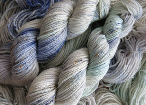 pastel indie dyed superwash aran yarn skeins