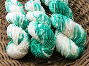 hand dyed merino 8 ply yarn skeins in green