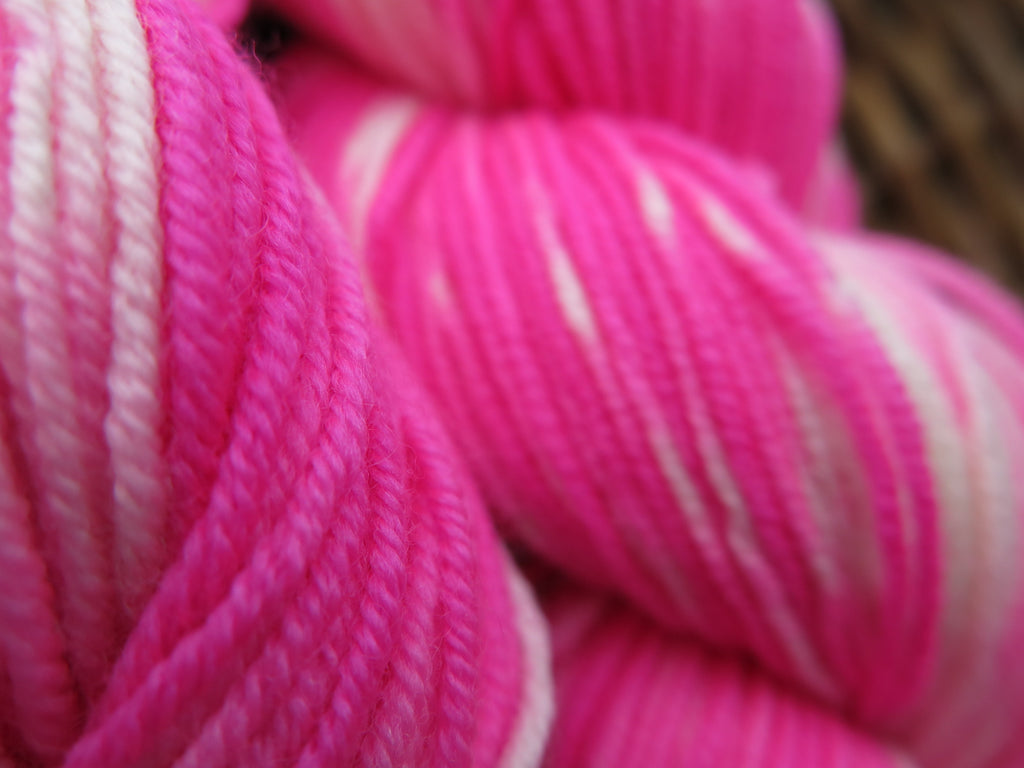 kettle dyed 8 ply merino wool in neon pink