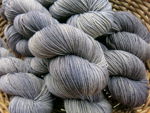 hand dyed tonal black and grey merino yarn skeins