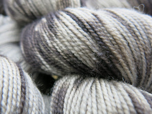 high twist grey sock yarn skeins