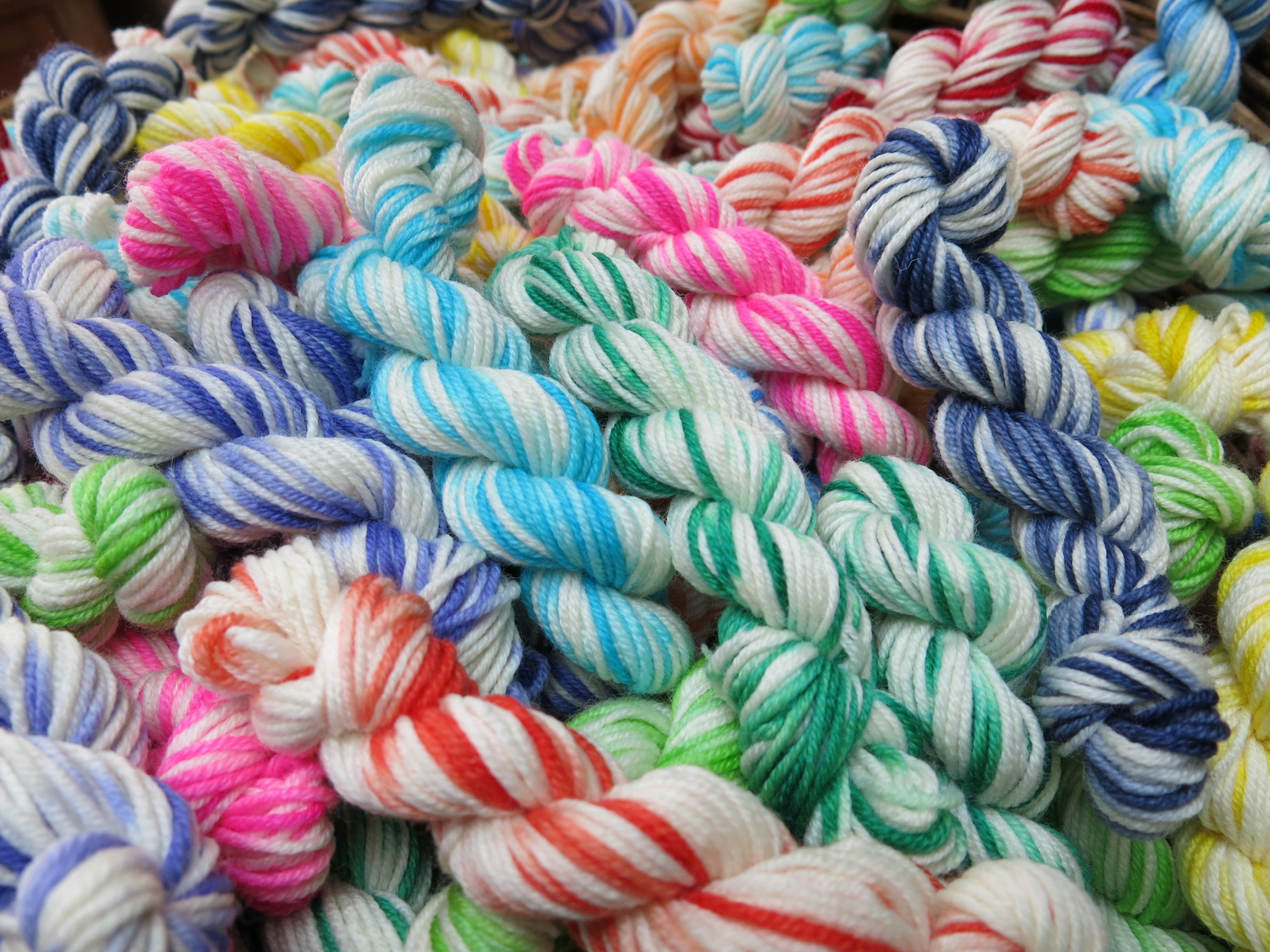hand dyed rainbow superwash merino double knit yarn mini skeins