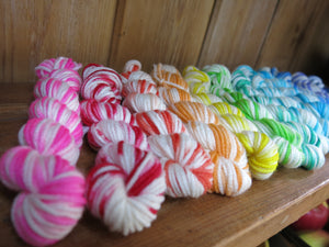 rainbow coloured dk merino mini skein set