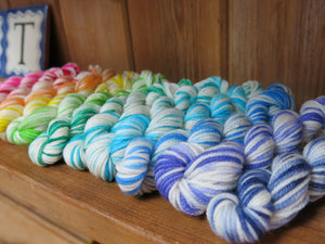 hand dyed rainbow superwash merino yarn mini skein set