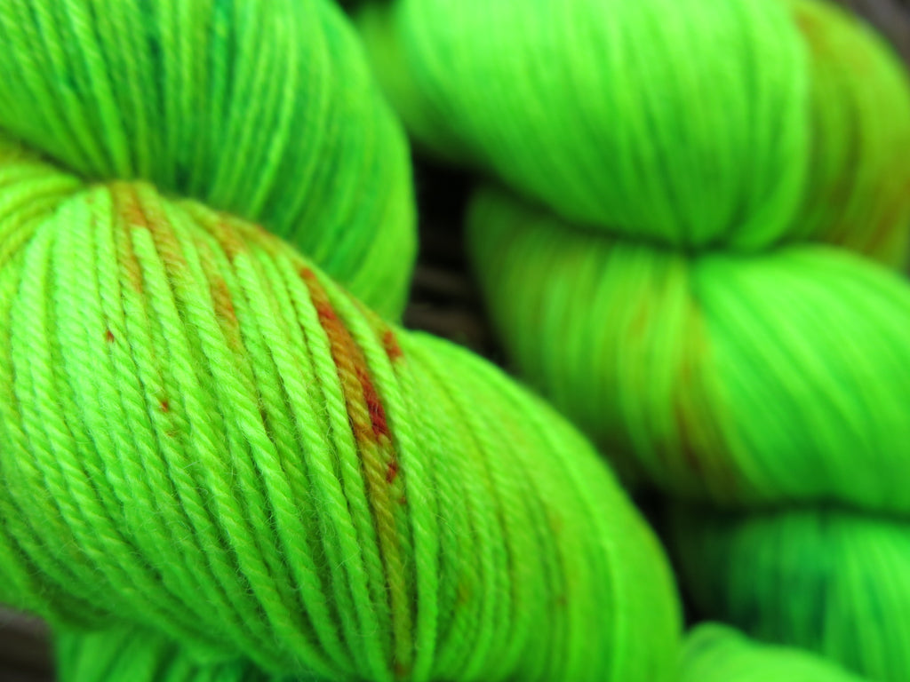 indie dyed bright green wool