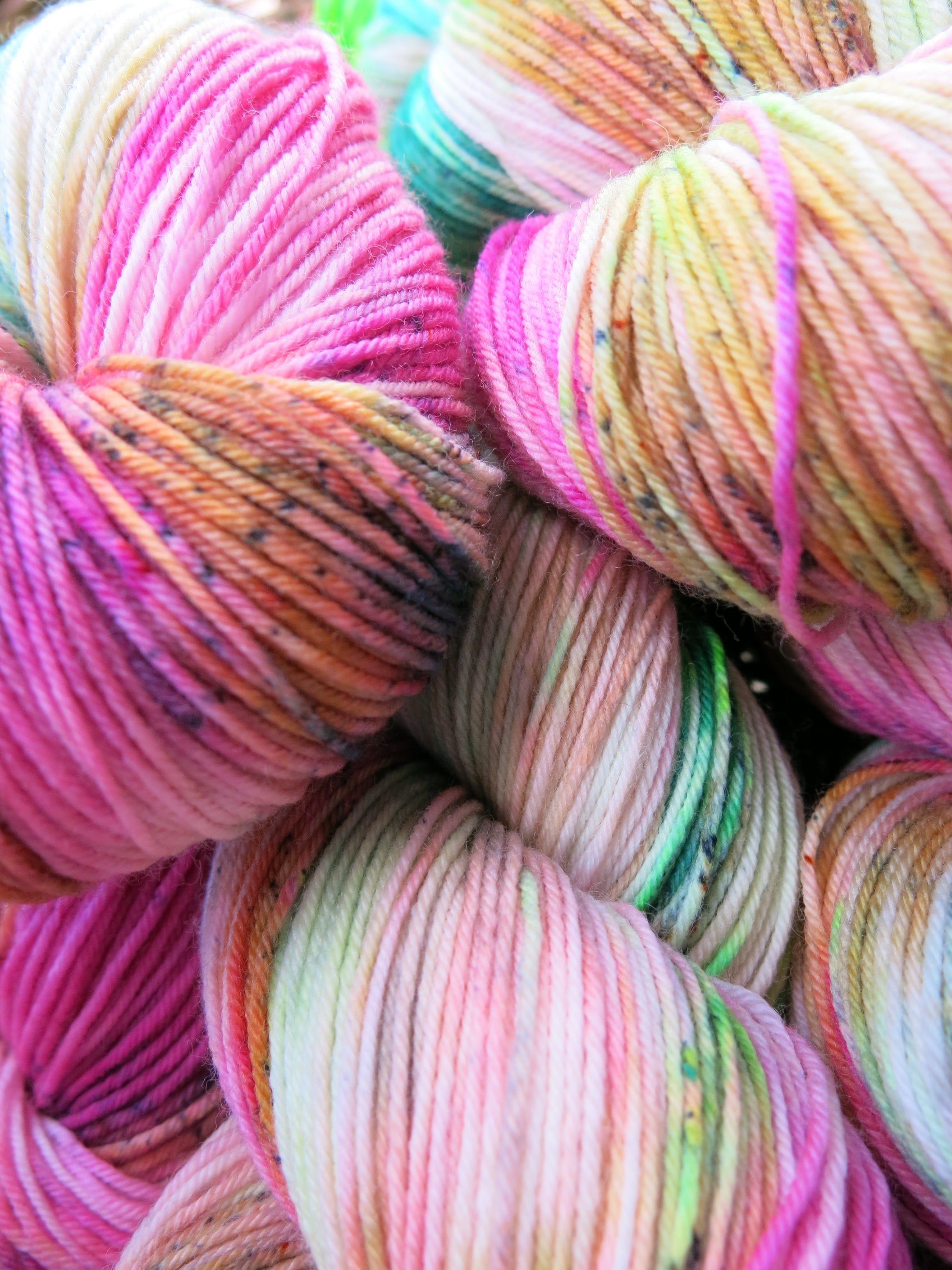 pink and green sock yarn