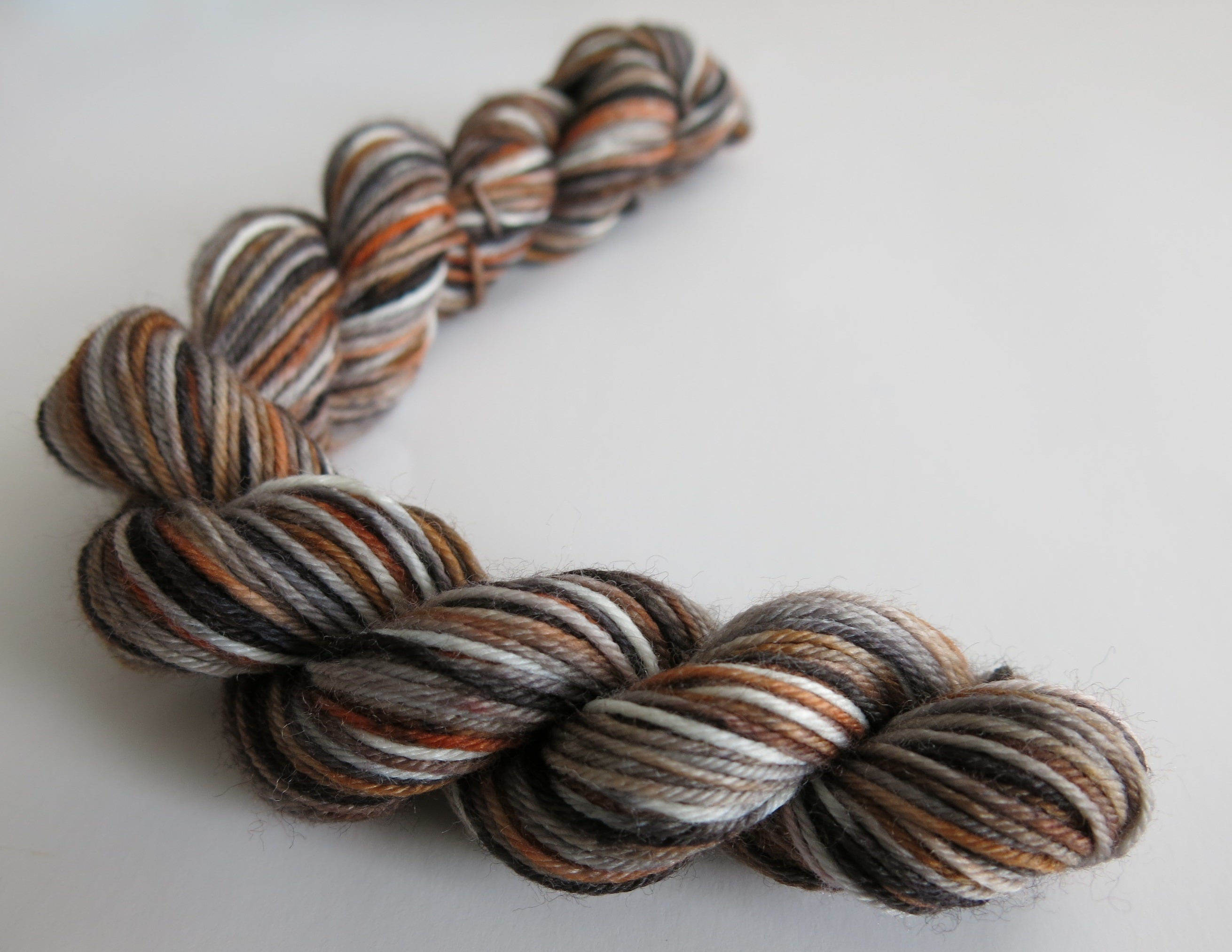 hand dyed brown speckled sock yarn mini skein