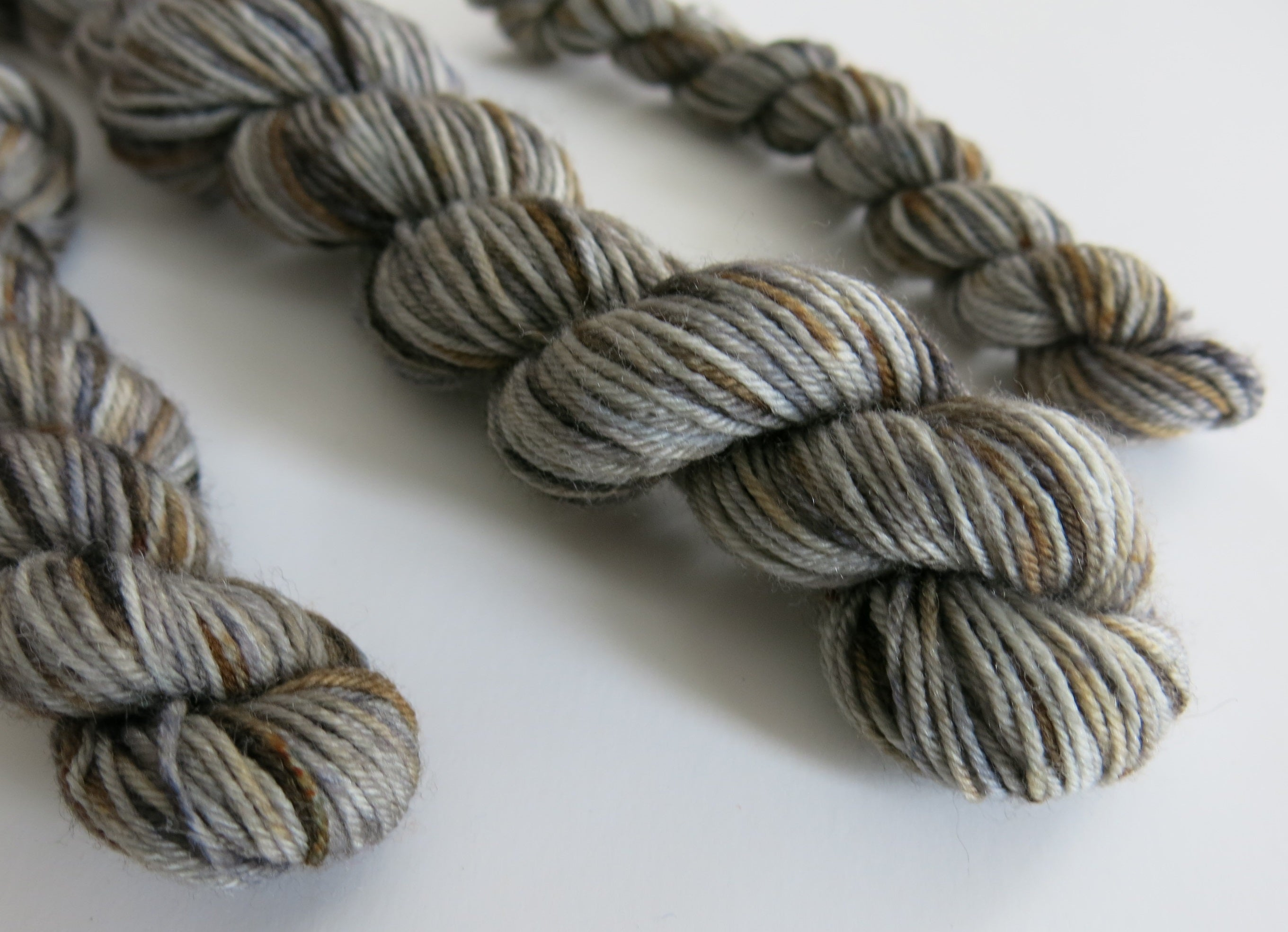 hand dyed speckled grey brown sock yarn mini skein