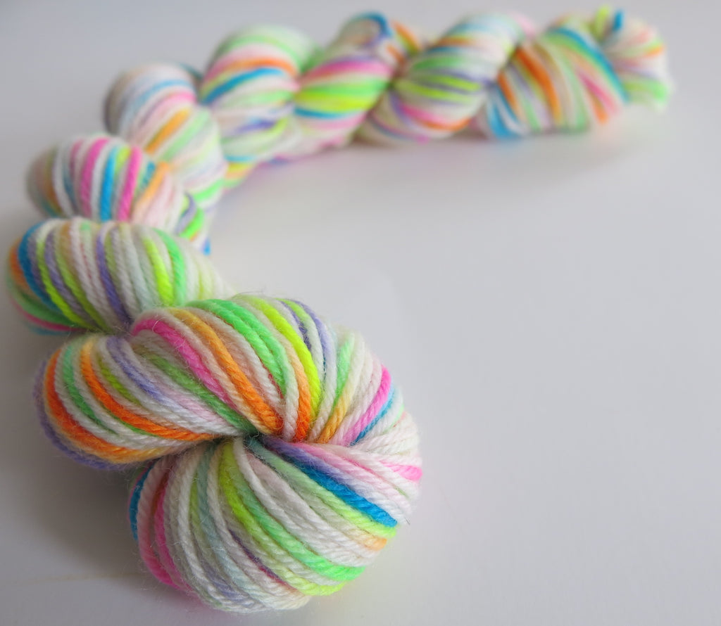 hand dyed uv reactive sock yarn mini skein