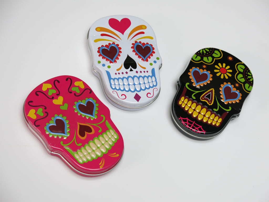 Day of the Dead sugar skull tin with skull candy
