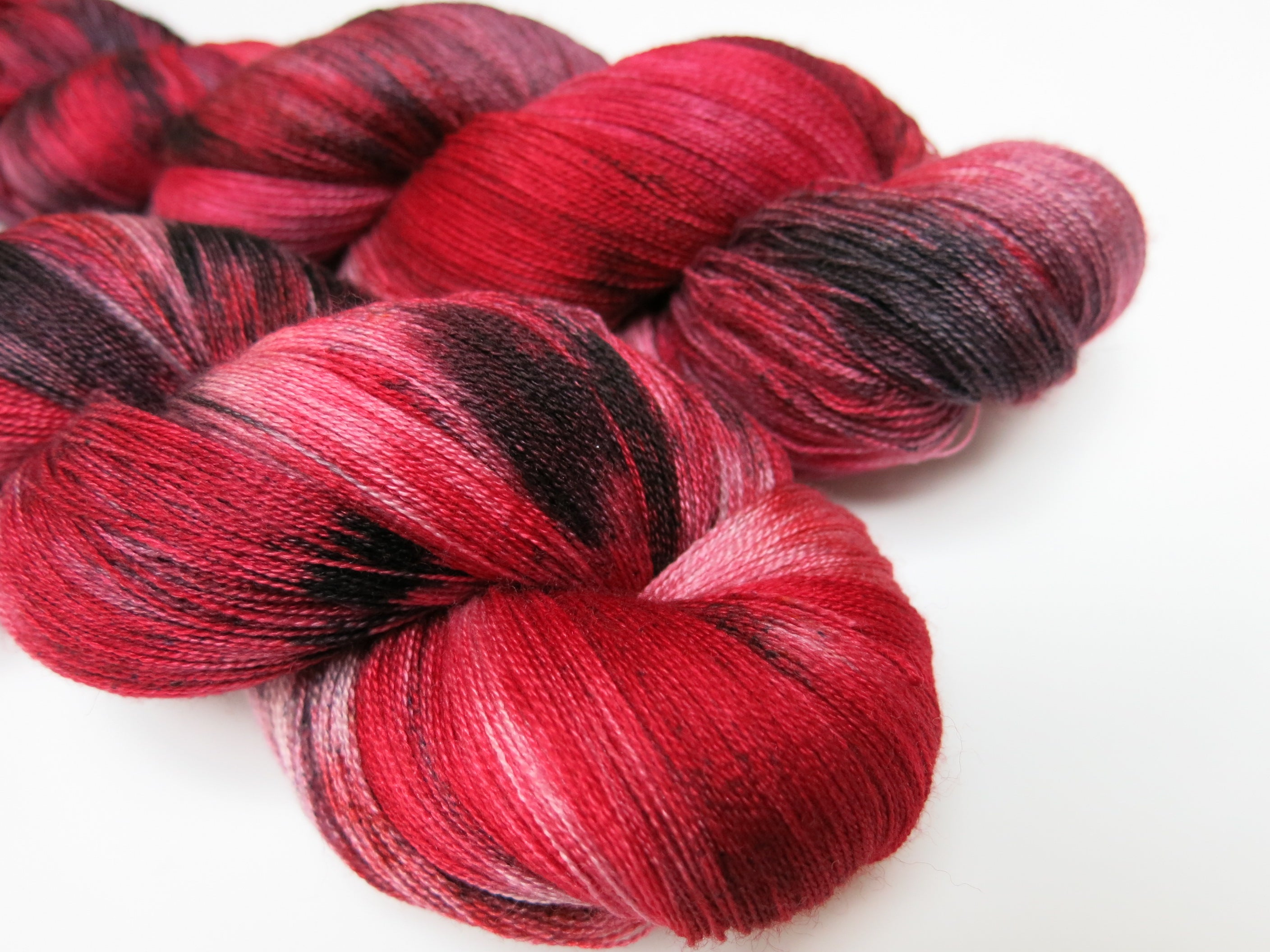 hand dyed red lace weight merino and silk wool