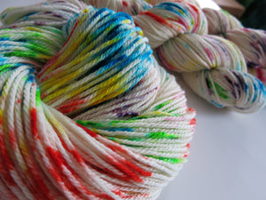 indie dyed speckled aran weight merino yarn