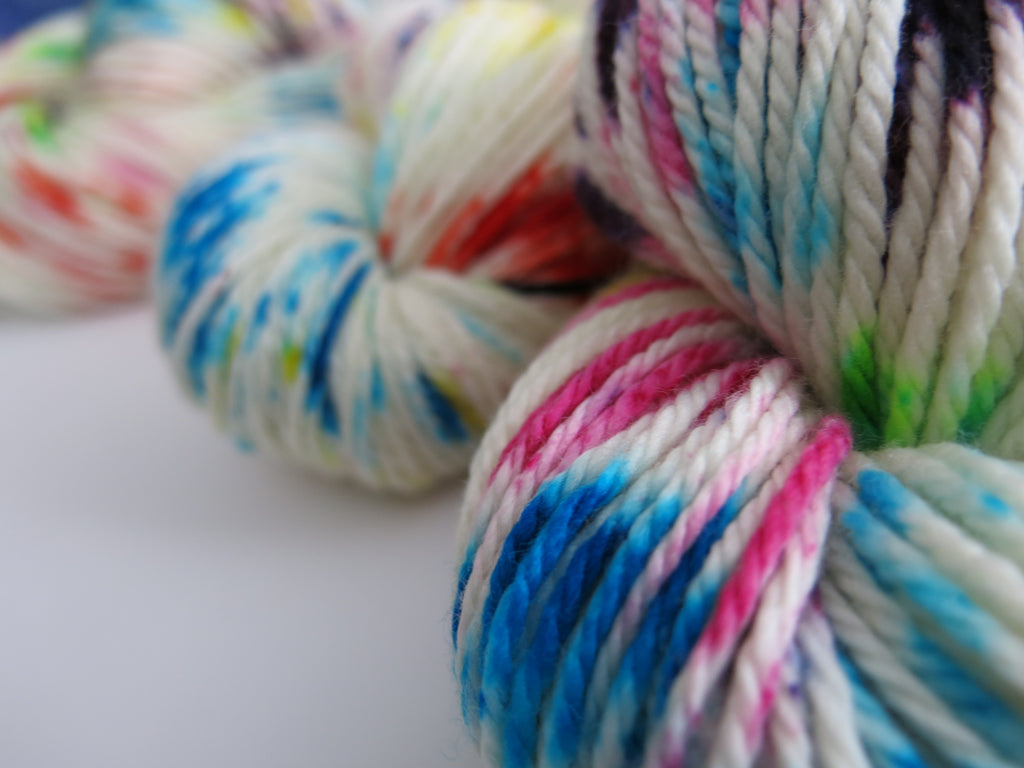 hand dyed superwash merino aran yarn skeins