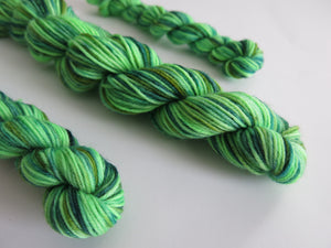 green hand dyed superwash sock yarn mini skeins